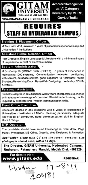 Personal Assistant,DTP Operator and Front Office Executive etc (GITAM University)