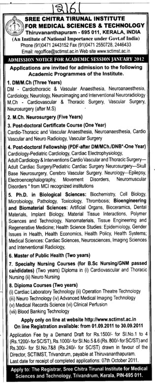 Post Doctoral Fellowship and Master Public Health etc (Sree Chitra Tirunal Institute For Medical Sciences and Technology)