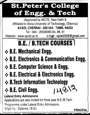 BTech in all trades (St Peters College of Engineering and Technology)