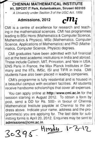 MSc and PhD Programmes (Chennai Mathematical Institute Deemed University)