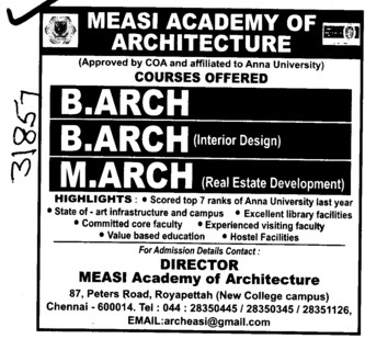 B Arch and M Arch Programmes (MEASI Academy of Architecture)