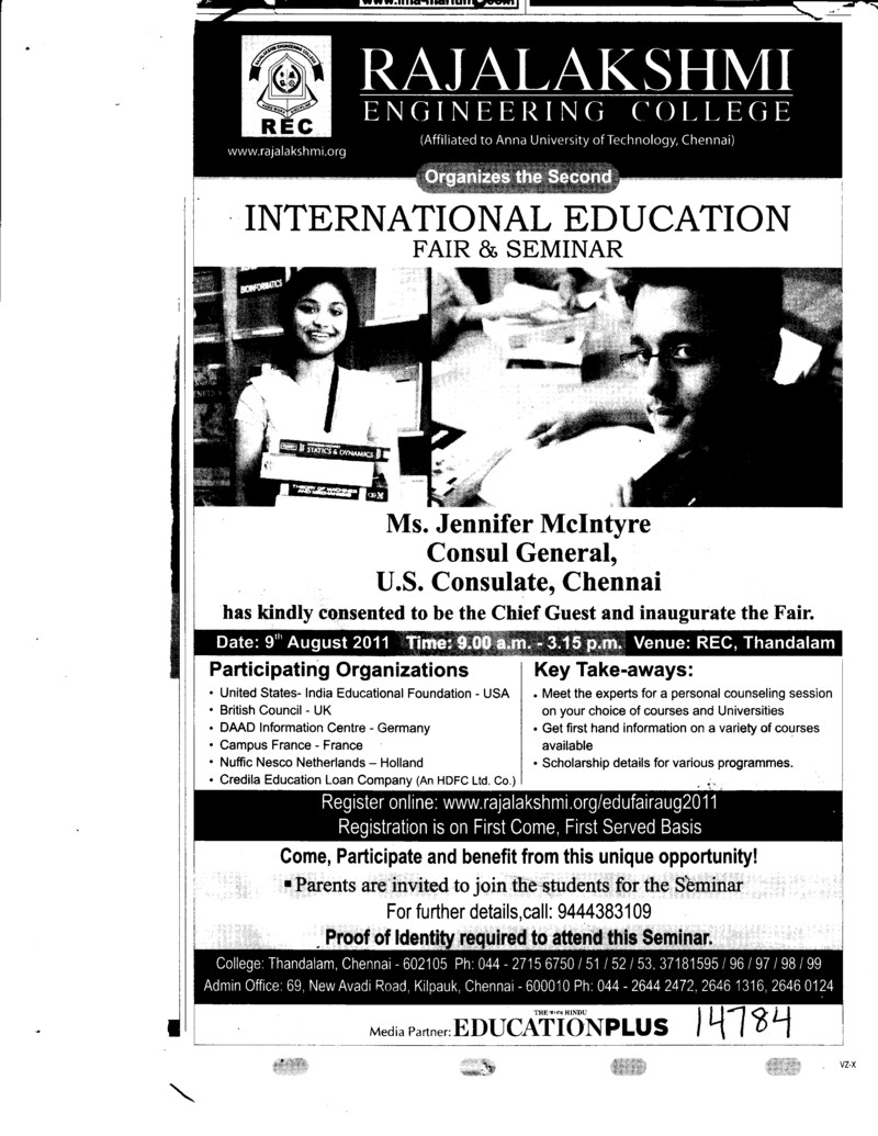 International Education Fair and Seminar (Rajalakshmi Engineering College)