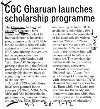 CGC Gharuan launches scholarship programme (Chandigarh Group of Colleges)