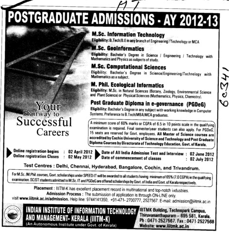 MSc and M Phil Programmes (Indian Institute of Information Technology and Management)