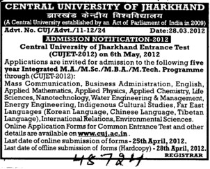 MA,MSc and MBA Programmes etc (Central University of Jharkhand)