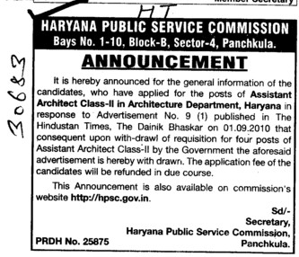 Assistant Architect class II in Architecture Department (Haryana Public Service Commission (HPSC))