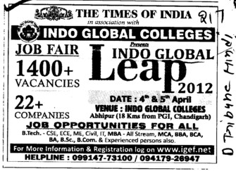 Job Opportunities for BTech Students (Indo Global College of Engineering)