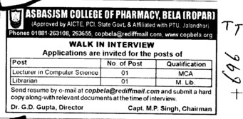 Lecturer in Computer Science and Librarian (Amar Shaheed Baba Ajit Singh Jujhar Singh Memorial College of Pharmacy ASBASJSM Bela)