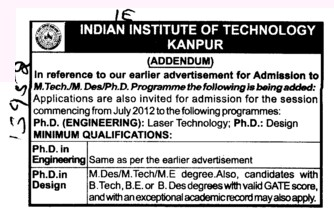 MTech and PhD Programmes (Indian Institute of Technology (IITK))