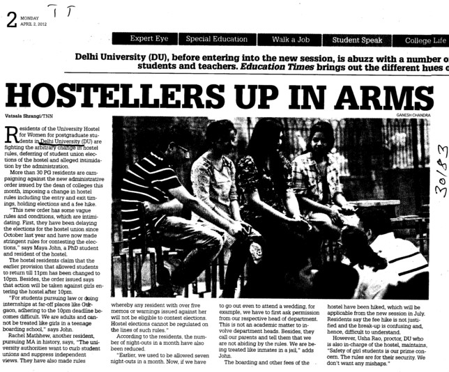 Hostellers up in Arms (Delhi University)