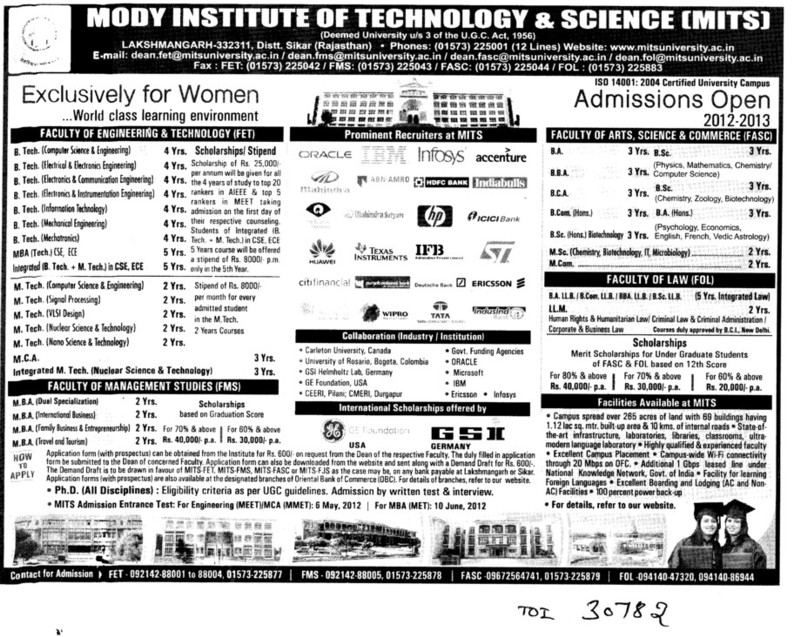 BTech,MTech,MBA and MCA Programmes (Modi University of Science and Technology (MITS))