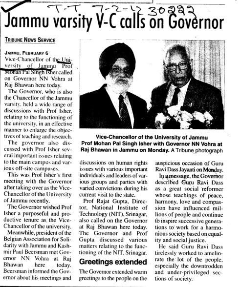 Jammu varsity VC calls on Governor (Jammu University)