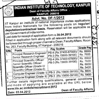 Principal Research Engineer and Scientific Officer etc (Indian Institute of Technology (IITK))