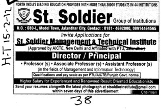 Director and Principal on regular basis (St Soldier Management and Technical Institute)