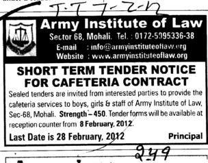 Cafeteria Contract (Army Institute of Law)