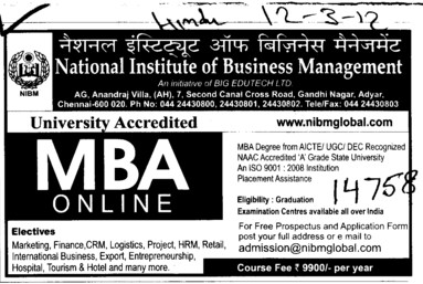 MBA Course 2012 2014 (National Institute of Business Management (NIBM))