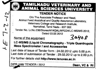 Mass Spectrometer and Accessories (Tamil Nadu Veterinary And Animal Sciences University TANUVAS)