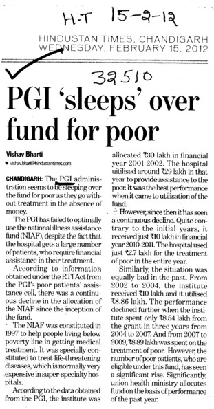 PGI sleeps over fund for poor (Post-Graduate Institute of Medical Education and Research (PGIMER))