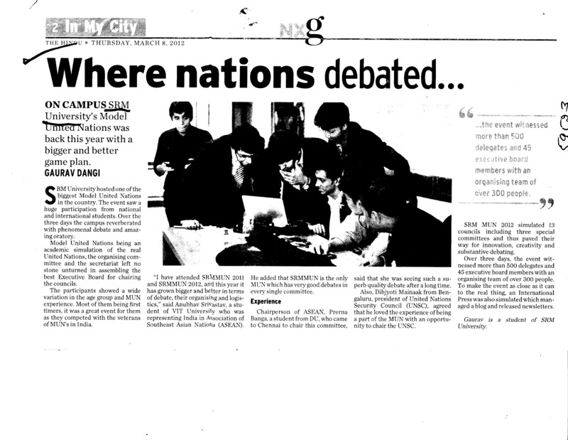 Where nations debated (SRM University)