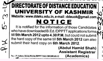 Regarding the Application forms (University of Kashmir Hazbartbal)