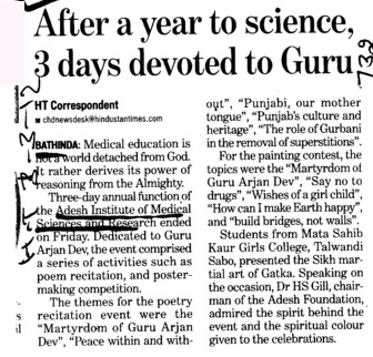 After a year to science 3 days devoted to Guru (Adesh Institute of Medical Sciences and Research)