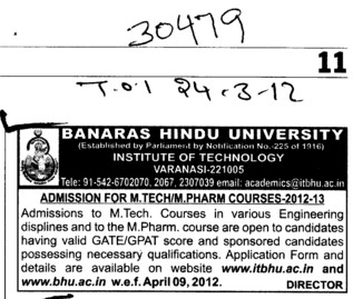 MTech and M Pharm Courses (Banaras Hindu University)