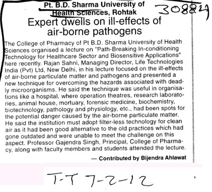 Expert dwells on ill effects of air borne pathogens (Pt BD Sharma University of Health Sciences (BDSUHS))