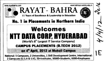 No 1 in Placements in Northern India (Rayat and Bahra Group)