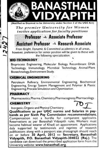 Professor,Asstt Professor and Associate Professor (Banasthali University Banasthali Vidyapith)