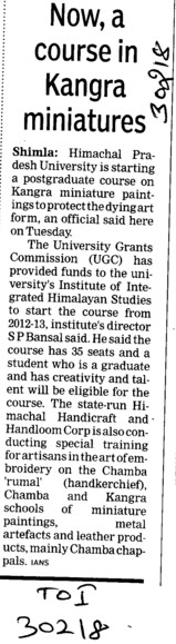 Now a course in Kangra miniatures (Himachal Pradesh University)