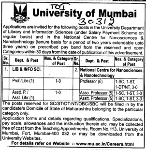 Professor,Asstt Professor and Librarian etc (University of Mumbai (UoM))