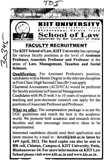 Professor,Asstt Professor and Associate Professor (KIIT University)
