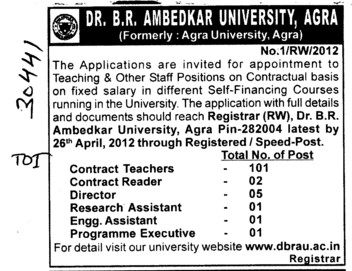 Staff position on contractual basis (Dr Bhim Rao Ambedkar University)