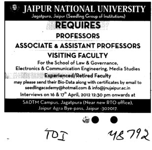Professor,Asstt Professor and Associate Professor (Jaipur National University)
