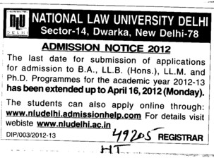 BA,LLB and LLM Courses (National Law University)