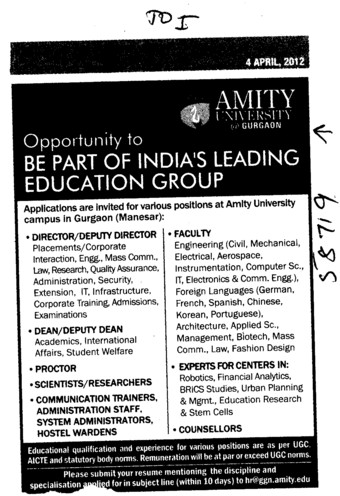 Director,Dean and Proctor etc (Amity University Manesar)