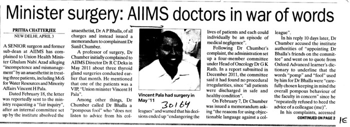 AIIMS doctors in war of words (All India Institute of Medical Sciences (AIIMS))
