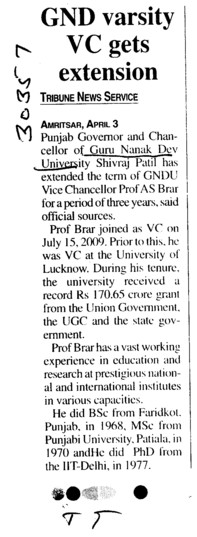 GND varsity VC gets extension (Guru Nanak Dev University (GNDU))