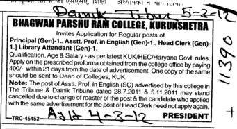 Principal,Asstt Professor,Head Clerk and Library Attendant (Bhagwan Parshu Ram College)