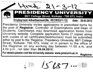 Registrar on regular basis (Presidency University)