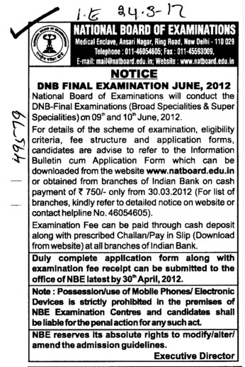 DNB Final Examination 2012 (National Board of Examinations)