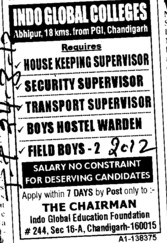 Housekeeping Supervisor and Boys Hostel Warden etc (Indo Global Group of Colleges)
