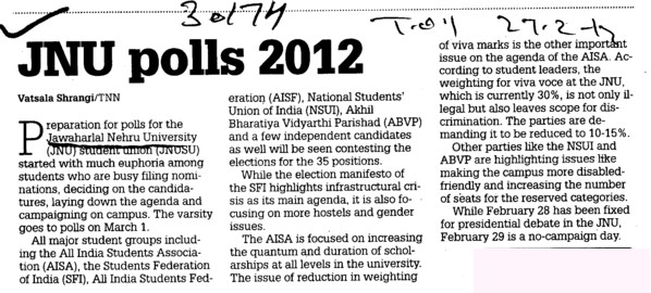 JNU Polls 2012 (Jawaharlal Nehru University)