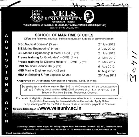 BSc in Nautical Science and Marine Engineering etc (VELS University)