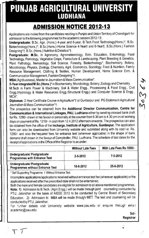 BSc,MSc and MBA Programmes (Punjab Agricultural University PAU)
