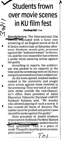 Students frown over movie scenes in Ku film fest (Kurukshetra University)