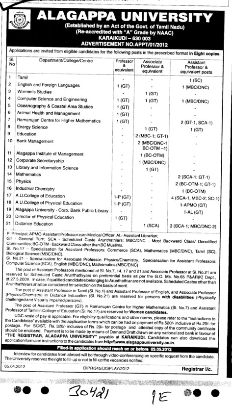 Professor,Asstt Professor and Associate Professor etc (Alagappa University)