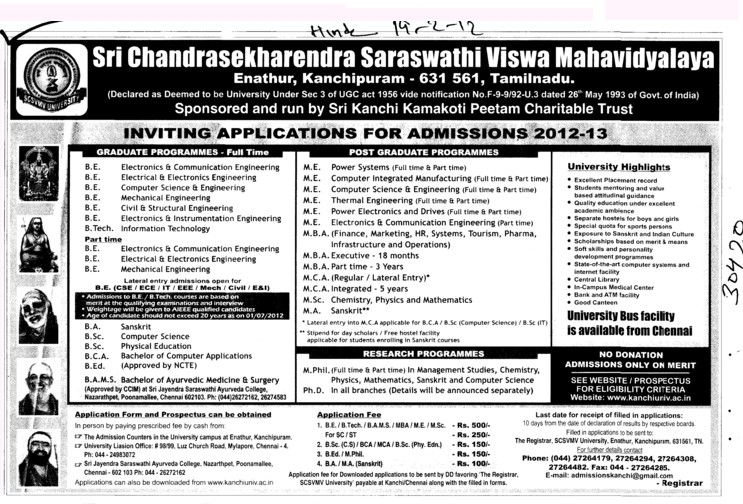 BE,BA and BSc etc (Sri Chandrasekharendra Saraswathi Vishwa Mahavidyalaya Deemed University)