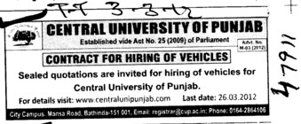 Contract for hiring of Vehicles (Central University of Punjab)