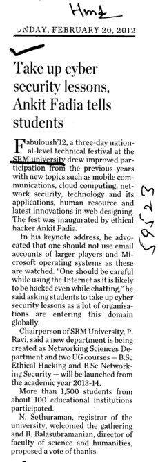 Take up cyber security lessons Ankit Fadia tells Students (SRM University)